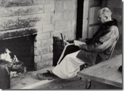 merton by the fireplace